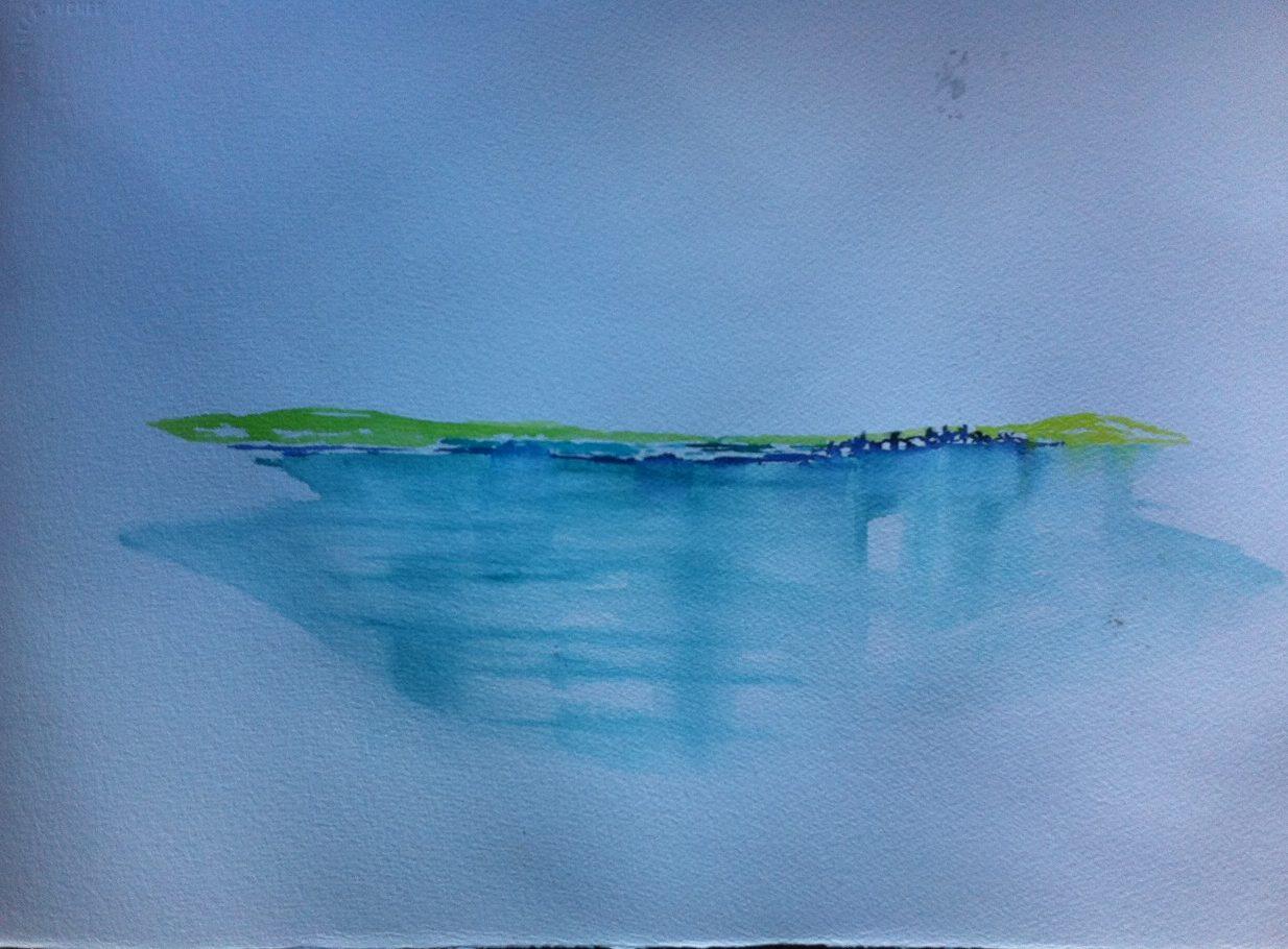 Aquarell Silser See: der erste Farbauftrag