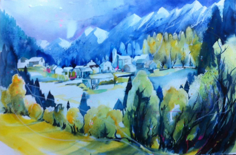 HintergrHintergrund und und Dorf werden gemalt