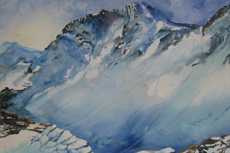 Aquarell Piz Minschum im Skigebiet von Scuol