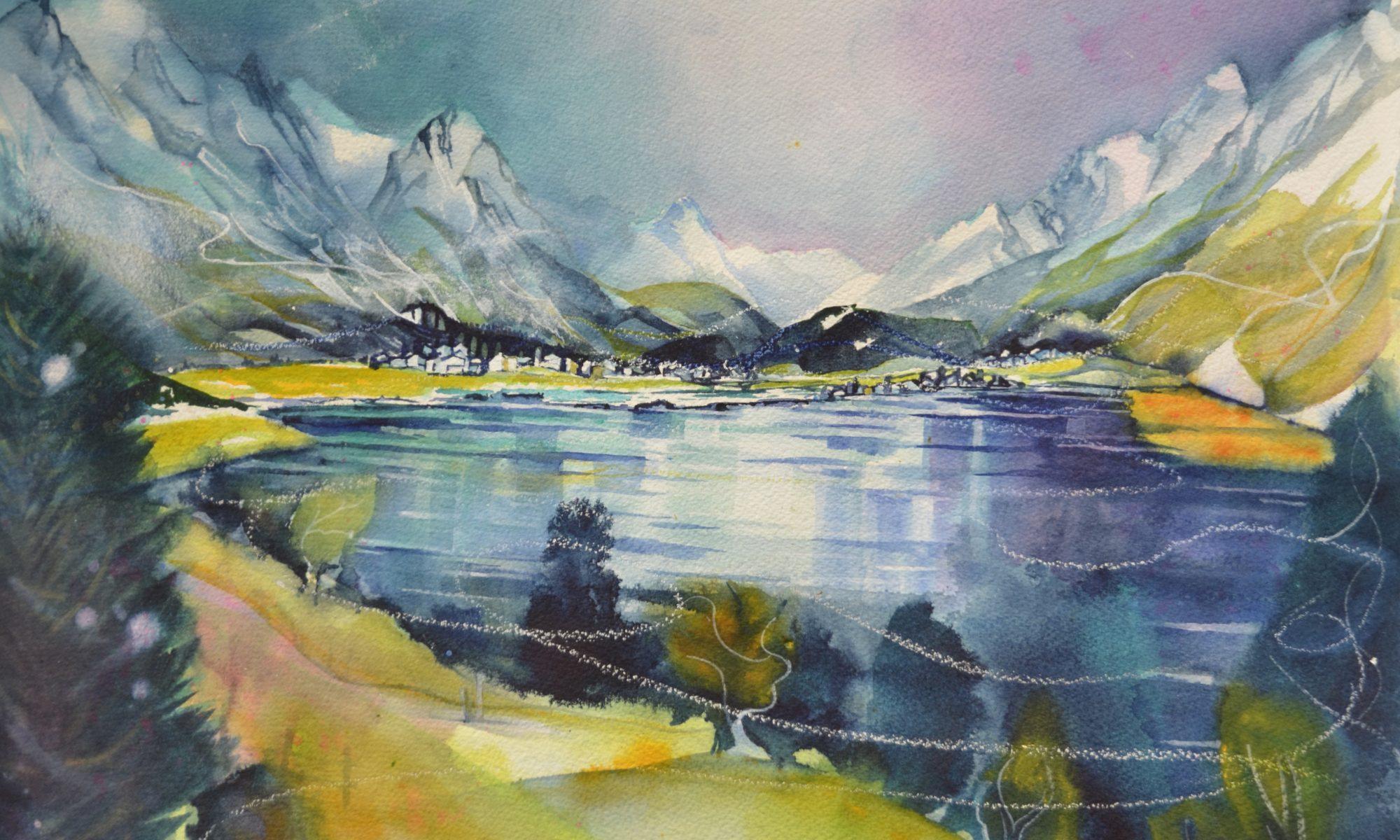 Das fertige Aquarell Silser See von Irene Lanz